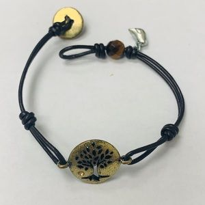 Tree of Life Fossil Brown Leather Bracelet